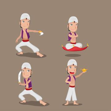 Aladdin Persian Character Cartoon Set Vector