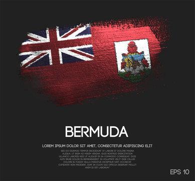 Bermuda Flag Made of Glitter Sparkle Brush Paint Vector