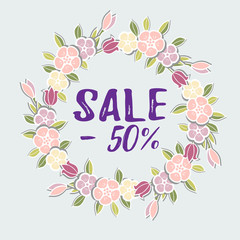 Sale minus 50 text. Vector illustration, Sale tag isolated on blue background with flower wreath.
