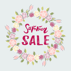 Summer sale text. Vector illustration, Summer sale tag isolated on white background and flower wreath.