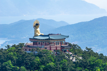 Bohyunsa Temple with big sitting buddha's image  statue in Goseong city,  South Gyeongsong province, South Korea.