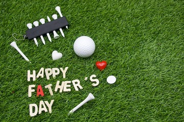 Happy Father's day to golfer word is on green grass