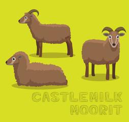 Sheep Castlemilk Moorit Cartoon Vector Illustration