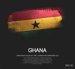 Ghana Flag Made of Glitter Sparkle Brush Paint Vector
