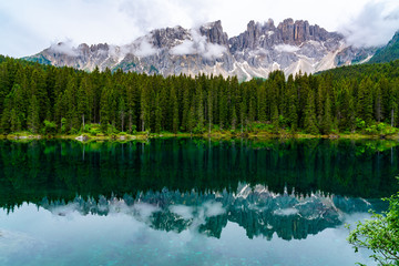 Wall Murals Reflection View of the beautiful Lake Carezza