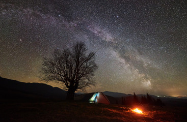 Bright campfire burning near tourist illuminated tent. Night camping in mountain valley amazing beautiful sky full of stars and Milky way. Silhouette of big tree and distant hills in background
