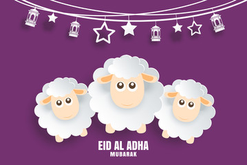 Eid Al Adha Mubarak celebration card with sheep in paper art purple background. Use for banner, poster, flyer, brochure sale template.