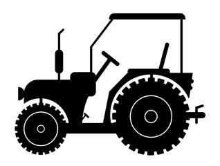 silhouette of a tractor on a white background vector