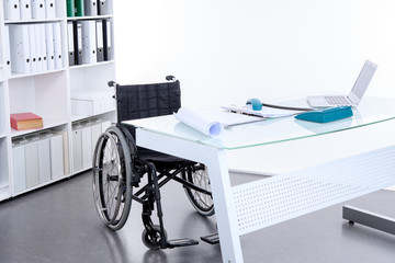 black wheelchair  in the office
