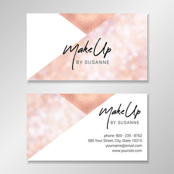 Vector modern customizable business card. Easy to customize with your own text. Business card design with geometric shapes, sparkly blurred bokeh background and faux rose gold foil.