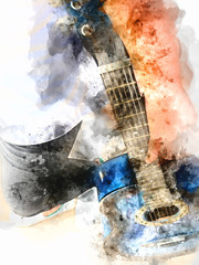 Abstract beautiful playing acoustic Guitar in the foreground on Watercolor painting background and...