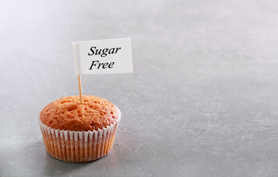 Diet food concept - cake with sign sugar free
