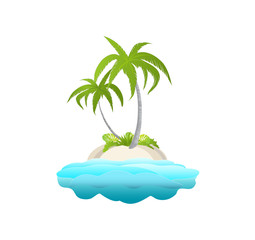 A small island with palm trees in the ocean for your design. Poster with passion  palm tree. Summer vacation in tropics. Cartoon vector illustration.