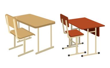 School Desk. School Supplies Icon and Logo. Isolated design element. Vector Cartoon illustration
