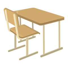 School Desk. School Supplies Icon and Logo. Isolated design element. Vector Cartoon illustration