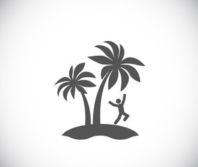 jumping man on palm tree island icon