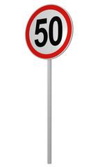 Deutsches Verkehrszeichen: Geschwindigkeitsbegrenzung 50 km/h, auf weiß isoliert, 3d render