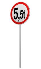 deutsches Verkehrsschild: tatsächliche Masse, 5.5t. 3d render