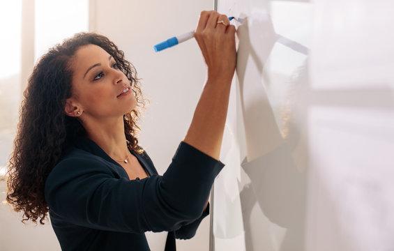 Woman entrepreneur writing on whiteboard in office