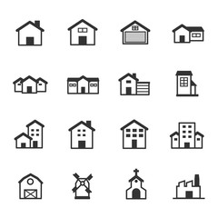 House and Buildings Icons, Vector Illustration Design