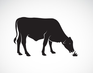 Vector of a  cow is eating grass on white background. Farm Animals. Easy editable layered vector illustration.
