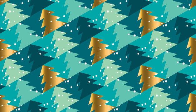 Geometric xmas tree  seamless pattern for background