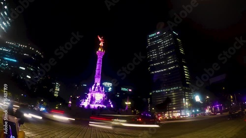 Time Lapse In The Emblematic Angel Of Independence In Mexico City At