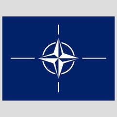 flag of NATO on gray background  vector illustration flat