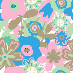 Hand drawn vector illustration pastel color seamless pattern abstract flower on the white background for textile design or decoration