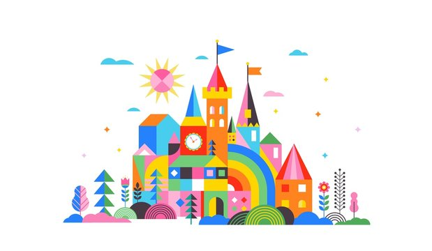 Geometric fairy tale kingdom, knight and princess castle, children room, class wall decoration. Colorful vector illustration