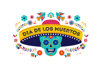 Day of the dead, Dia de los muertos background, banner and greeting card concept with sugar skull. Colorful vector illustration