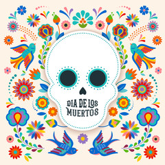 Day of the dead, Dia de los moertos, banner with colorful Mexican flowers. Fiesta, holiday poster, party flyer, greeting card