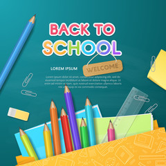 Vector template for design of flyer or banner on chalkboard background with paper shopping bag and Back to School Supplies (pencils, eraser, ruler, sticky note, notebooks). File contains clipping mask