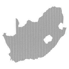 South Africa map country abstract silhouette of wavy black repeating lines. Contour of sinusoid curve. Vector illustration.