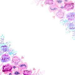 watercolor paintings floral frames violet-blue