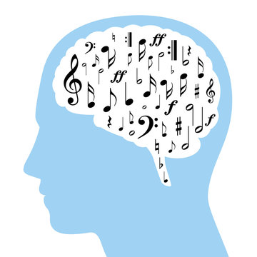 Musical notes in a white brain and blue silhouette of a head. Some symbols from musical notation, black colored, in a brain area. Isolated illustration on white background. Vector.