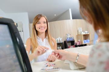 Customer at the beautician