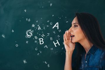 School, English lesson ourse of studying a foreign language.