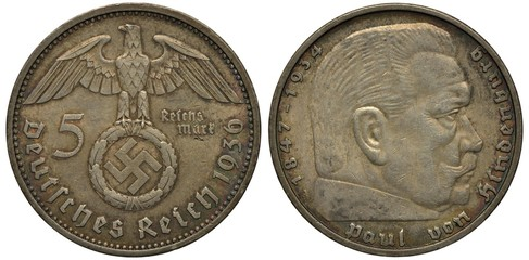 Germany German silver coin 5 five mark 1936, imperial eagle holding wreath with Nazi swastika, Paul von Hindenburg head right, Nazi time,