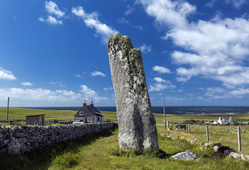 Clach an Trushal (Thrushel Stone) on NW coast of Isle of Lewis is one of the most impressive standing stones in Scotland.