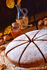 Fresh and tasty autumnal walnut cake with honey