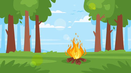 background with forest, camp fire