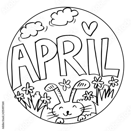 """April Coloring Pages for Kids"" Stock photo and royalty ..."
