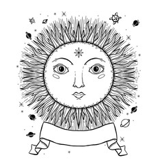 Sketch graphic illustration Beautiful Sun face with mystic and occult hand drawn symbols. Vector illustration. Vintage Hands with Old Fashion Tattoos.