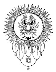 Sketch graphic illustration Beautiful Sun lotus with mystic and occult hand drawn symbols. Vector illustration. Vintage Hands with Old Fashion Tattoos.