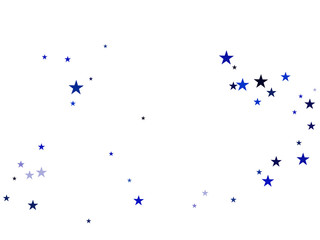 Blue Stars Confetti, Glowing Vector Border Background. Magic Christmas Lights, Gamour Sparkles, Glitter for Birthday Party Celebration. New Year Holiday Falling Down Stars Confetti, Gift Decoration.