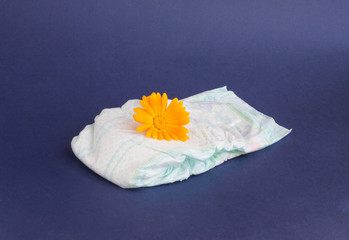 Baby diapers on a blue background and an orange flower on diapers