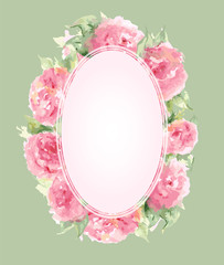 Watercolor pink tea rose peony flower floral composition frame border template background vector