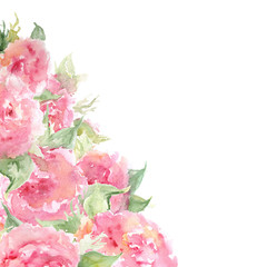 Watercolor pink tea rose peony flower floral composition frame background template isolated