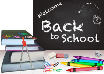 Background Back to School with Books and Colorful School Equipment - Detailed Illustration, Vector Graphics